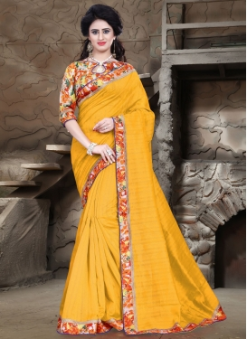 Thrilling Lace Work Mustard Color Casual Saree