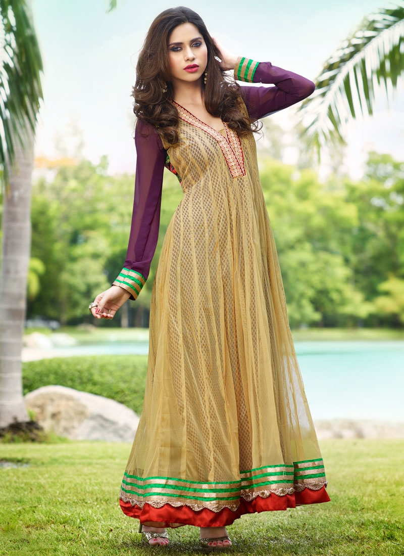 Thrilling Lace Work Net Anarkali Salwar Suit