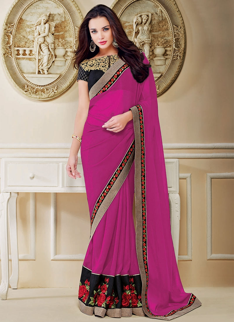 Thrilling Pure Georgette Amy Jackson Party Wear Saree