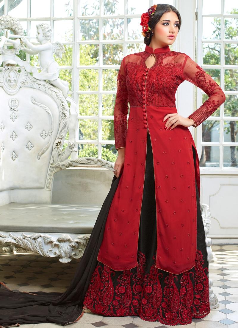 Thrilling Red And Black Color Palazzo Style Designer Salwar Kameez