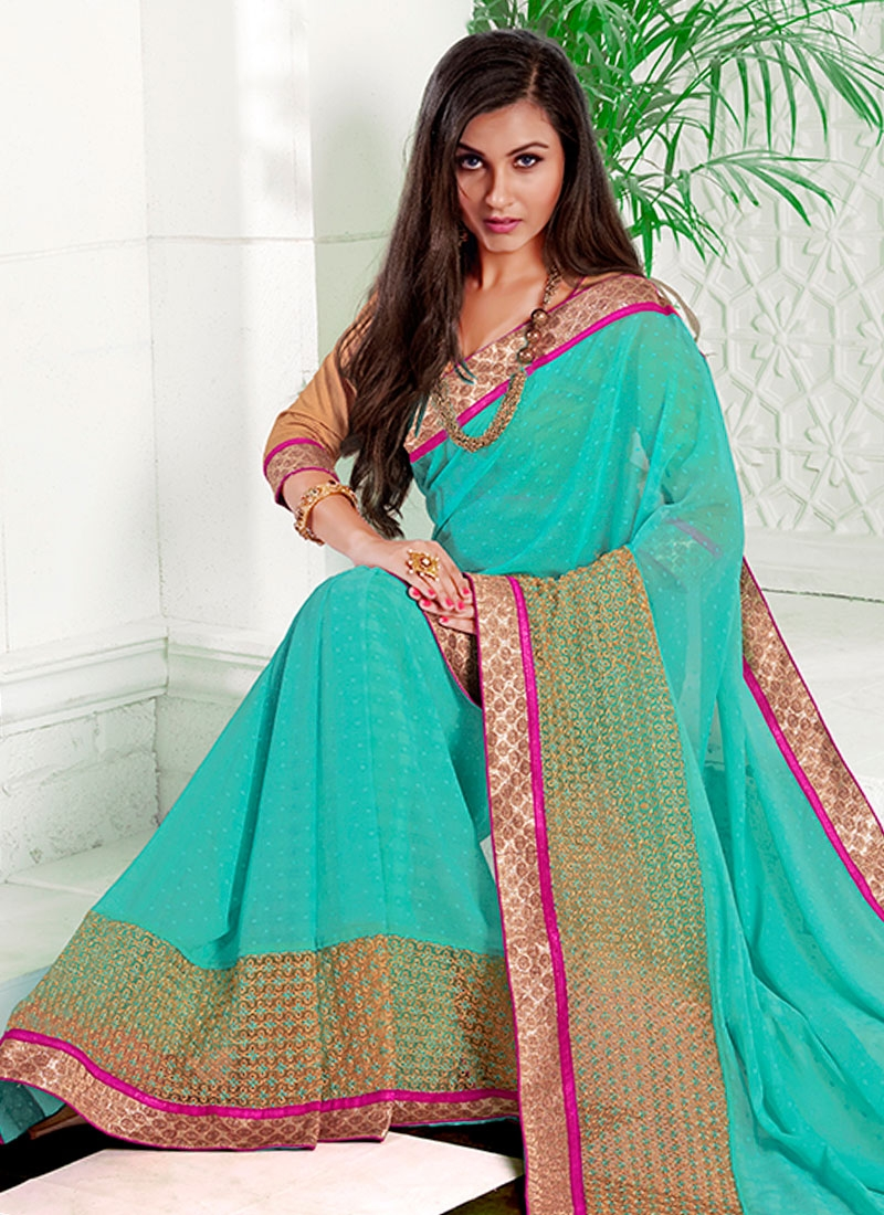 Thrilling Resham And Lace Work Party Wear Saree