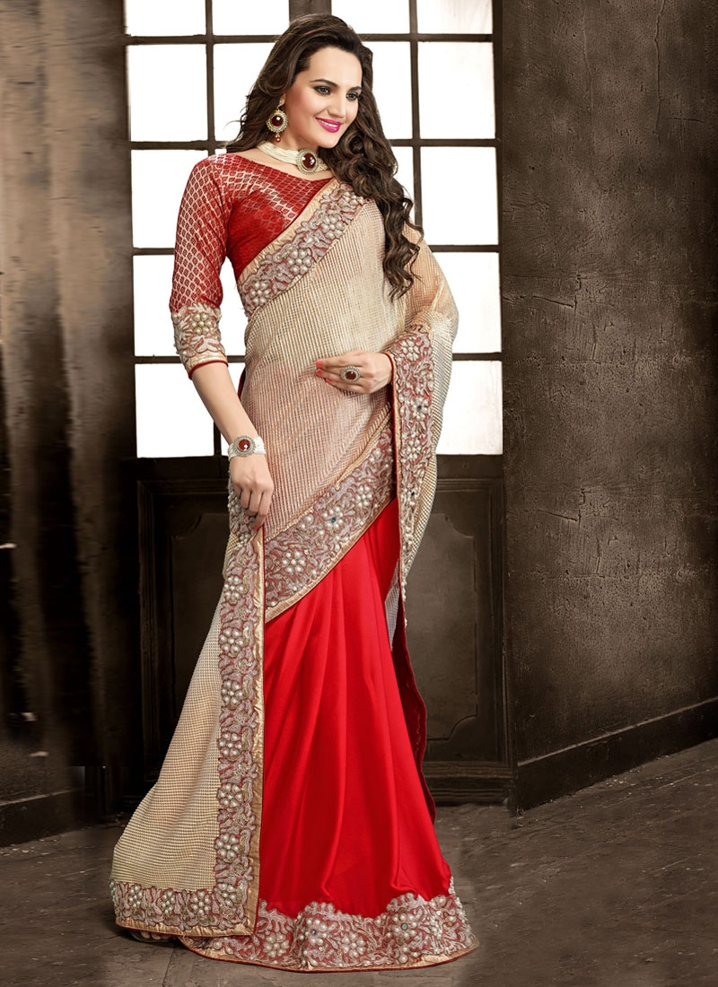 Tiptop Beads And Sequins Work Half N Half Wedding Saree