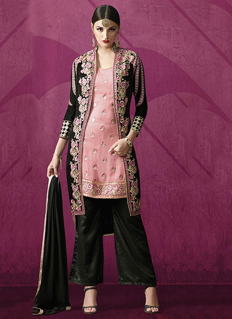 Tiptop Black Color Jacket Style Designer Salwar Kameez