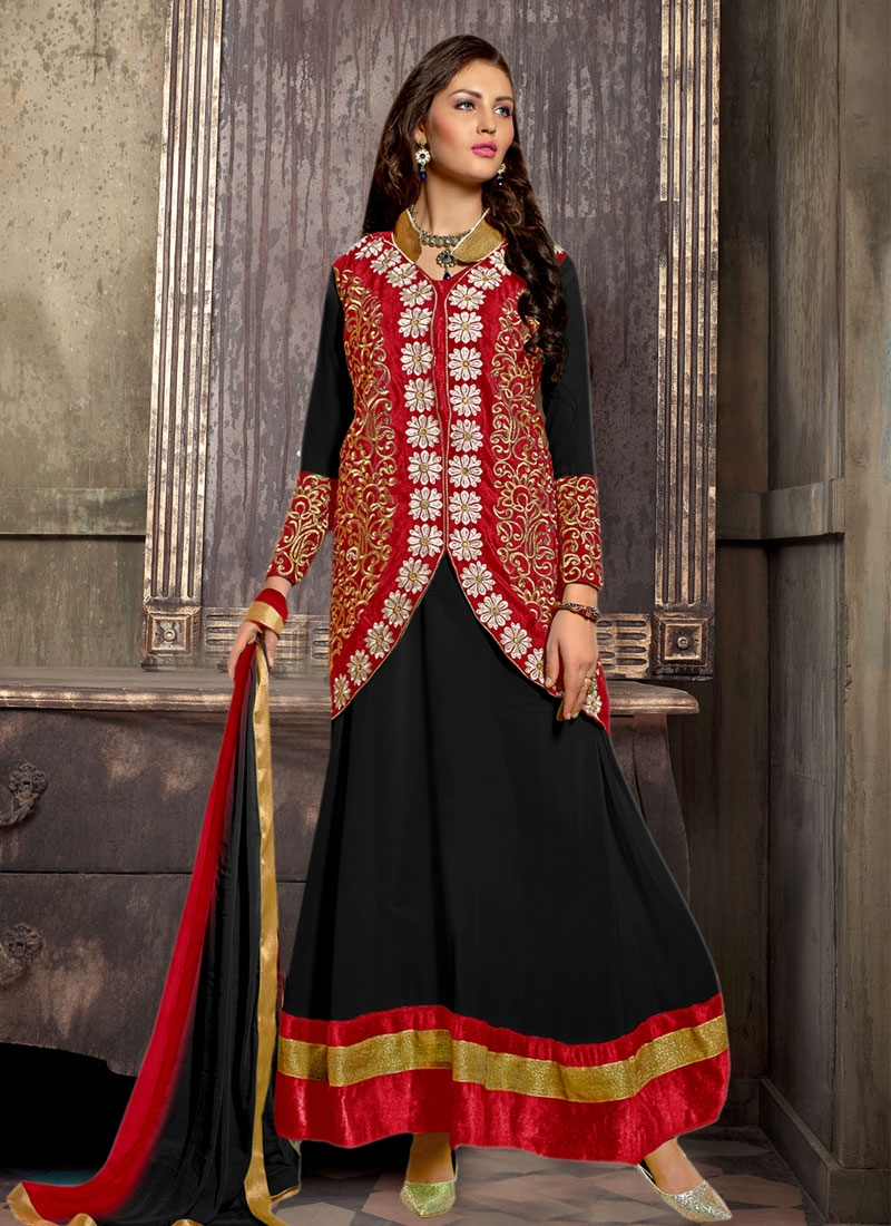 Tiptop Black Color Jacket Style Party Wear Salwar Kameez