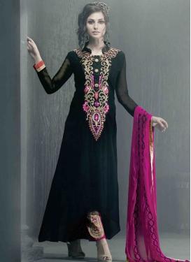 Tiptop Black Color Resham Work Pant Style Salwar Kameez