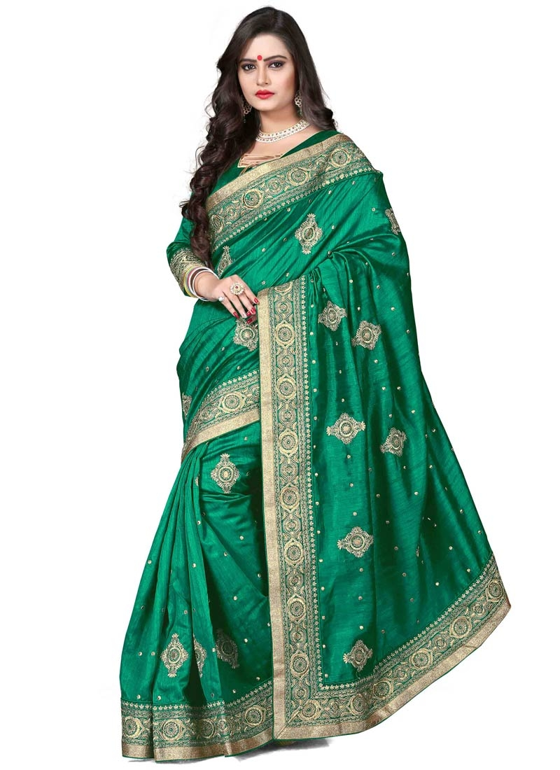 Tiptop Booti Work Bhagalpuri Silk Designer Saree