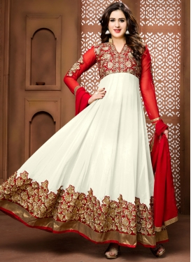Tiptop Booti Work Faux Georgette Red and White Anarkali Salwar Kameez For Festival