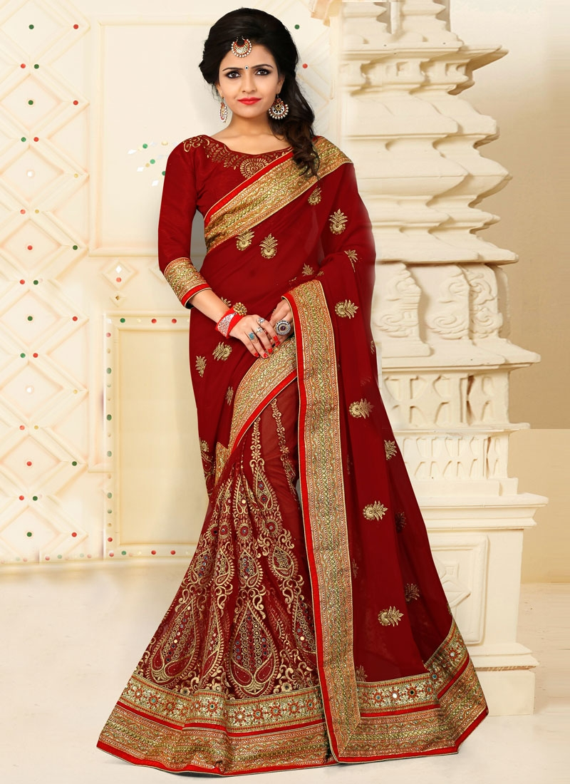 Tiptop Booti Work Net Crimson Traditional Designer Saree