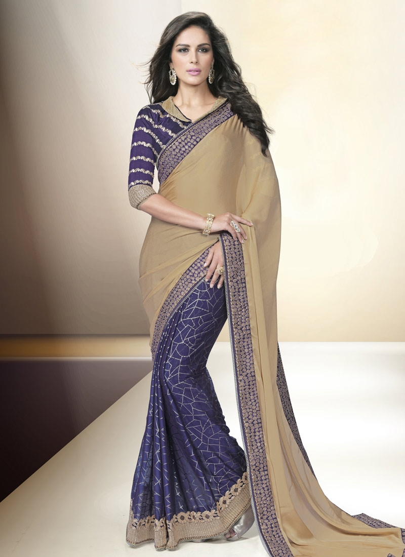 Tiptop Chiffon Satin Resham Work Half N Half Party Wear Saree