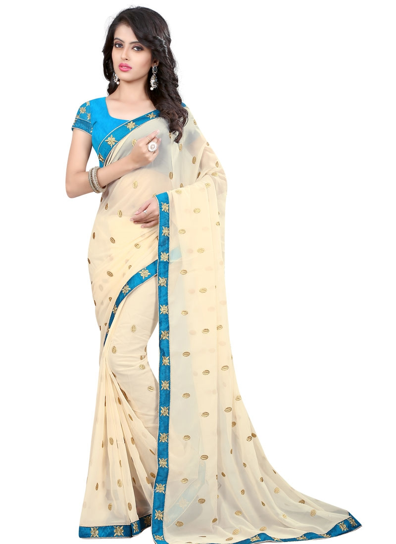 Tiptop Cream Color Resham Work Party Wear Saree