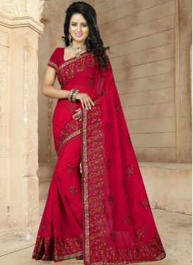 Tiptop Embroidered Work Faux Georgette Contemporary Saree