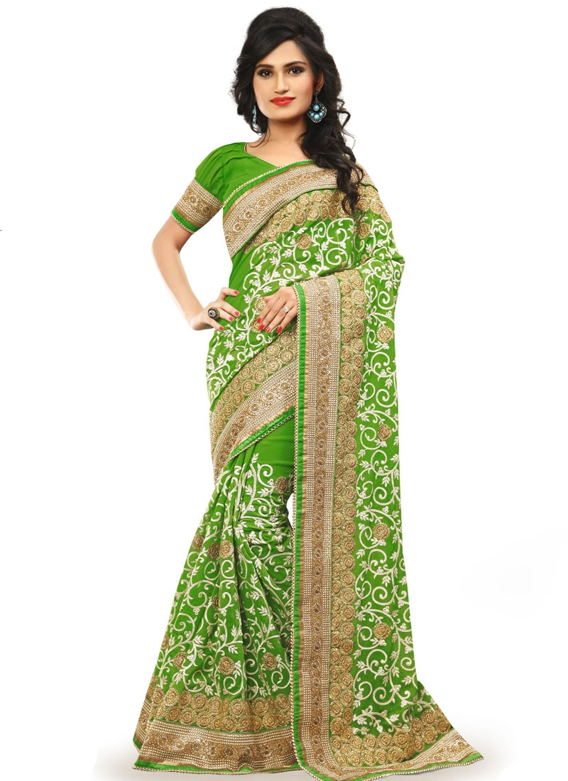 Tiptop Embroidery And Stone Work Wedding Saree