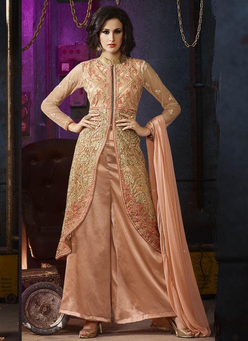 Tiptop Embroidery Work Palazzo Style Designer Salwar Suit