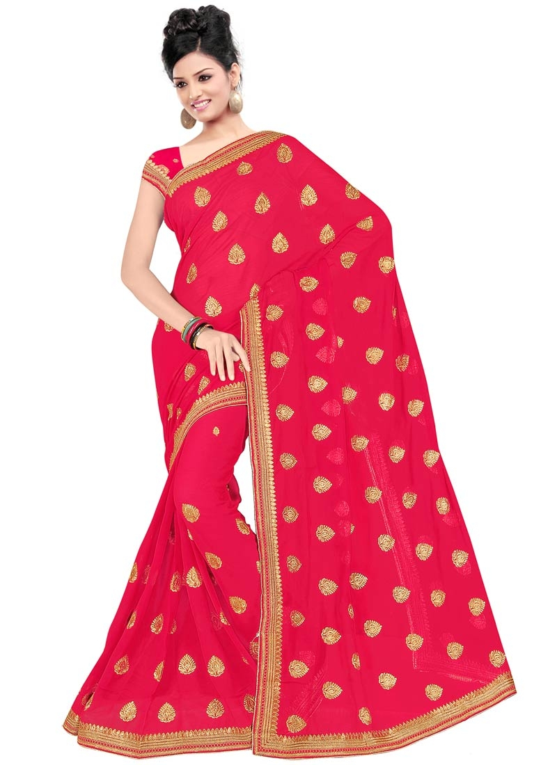 Tiptop Faux Chiffon Stone Work Party Wear Saree