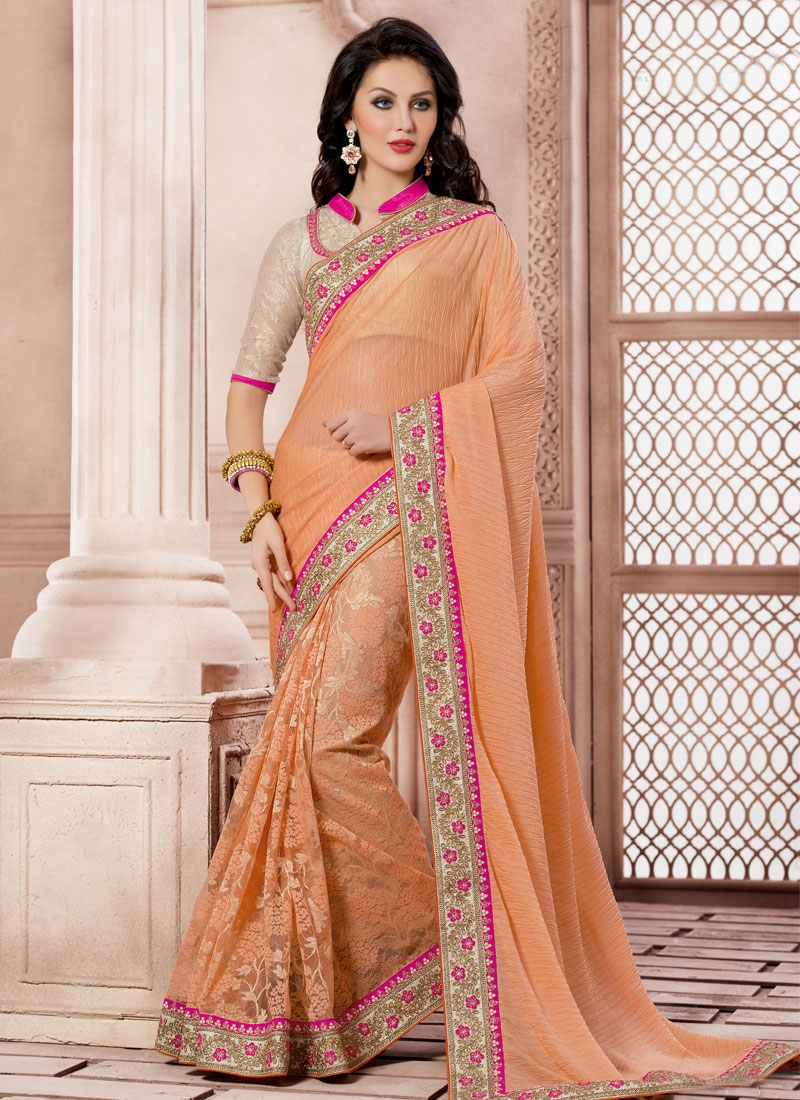 Tiptop Lace Work Peach Color Party Wear Saree