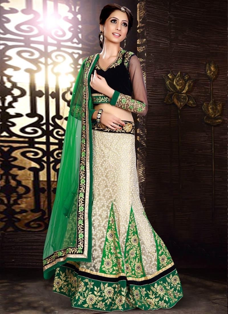 Tiptop Resham Work Green Color Wedding Lehenga Choli