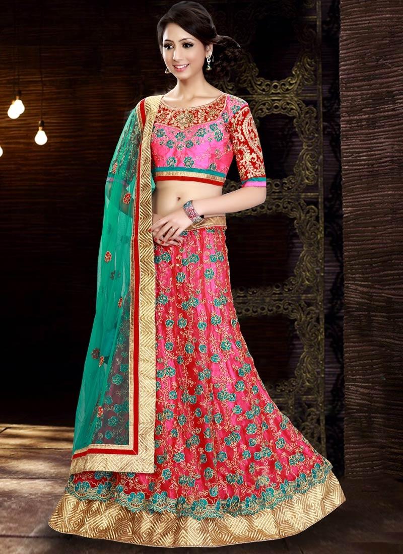 Tiptop Rose Pink Color Resham Work Wedding Lehenga Choli