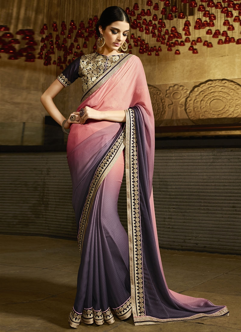 Tiptop Salmon Color Resham Work Party Wear Saree