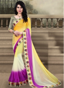 Tiptop Yellow Color Lace Work Party Wear Saree