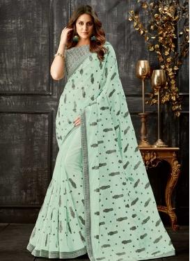 Tissue Embroidered Work Designer Contemporary Saree