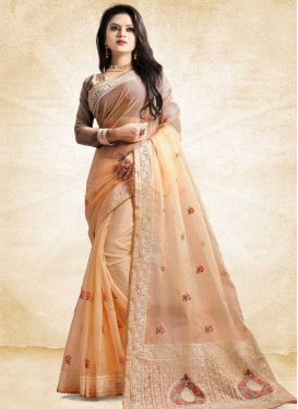 Tissue Embroidered Work Designer Traditional Saree