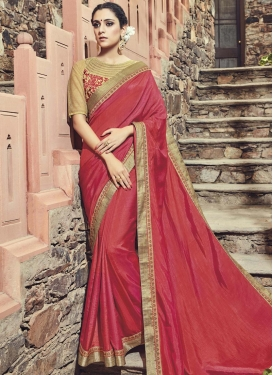 Titillating Art Silk Embroidered Work Traditional Saree For Ceremonial