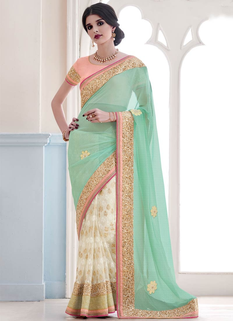 Titillating Beads And Sequins Work Half N Half Designer Saree