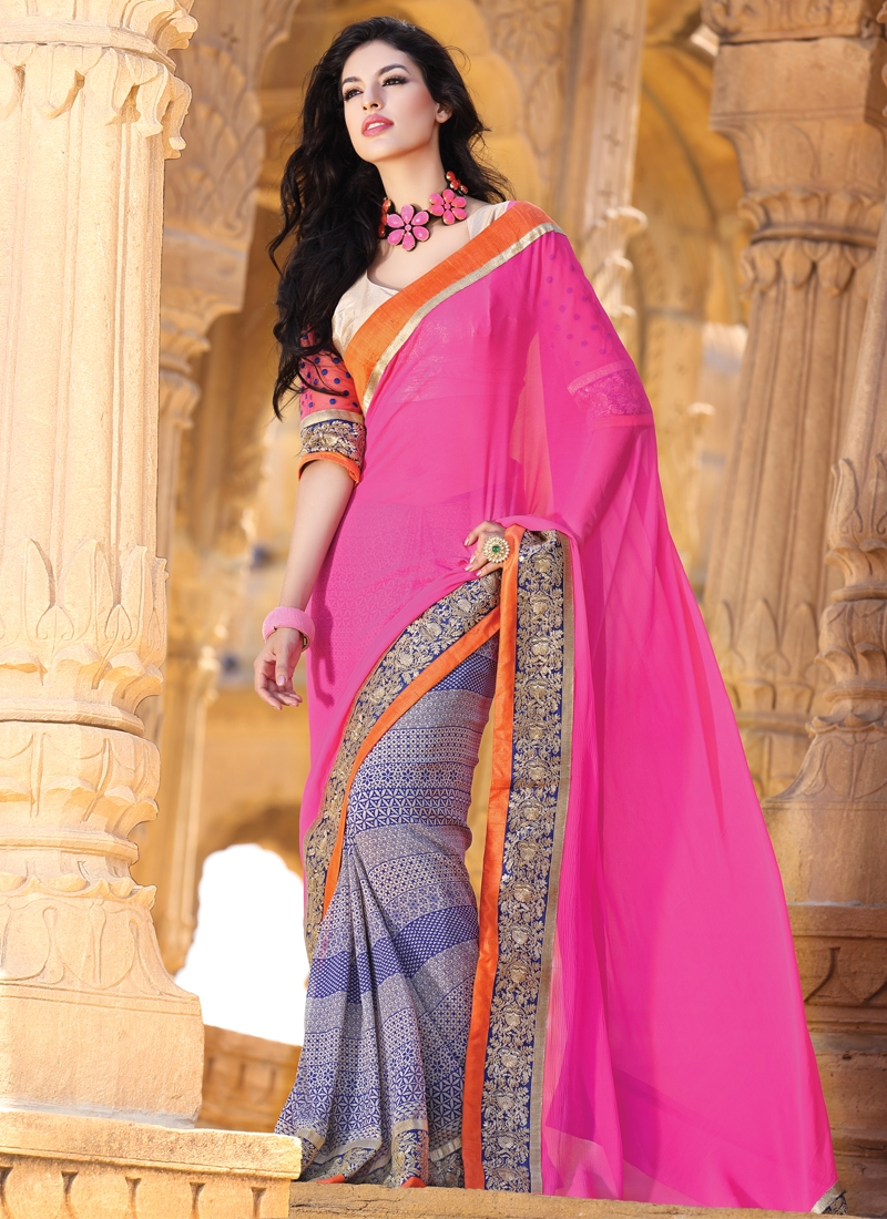 Titillating Blue And Hot Pink Half N Half Saree