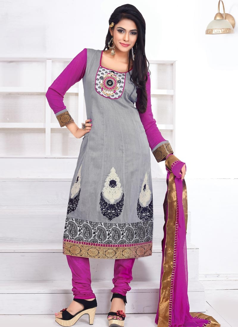 Titillating Booti Work Grey Color Casual Salwar Suit