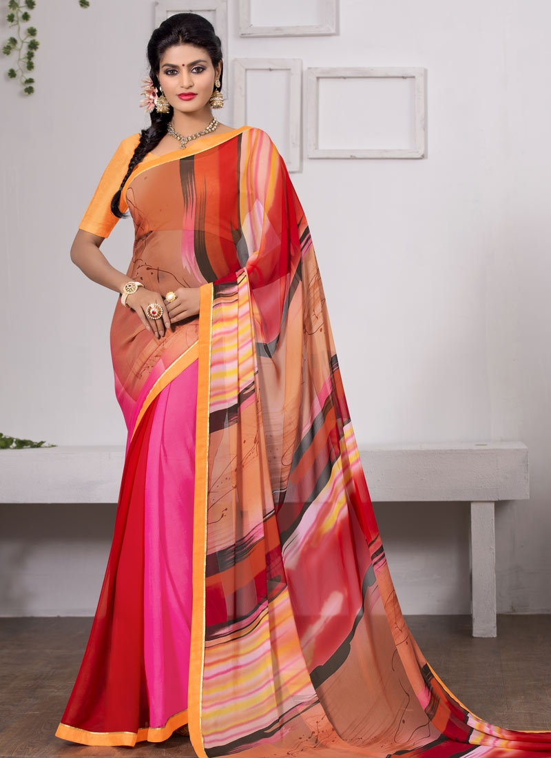 Titillating Digital Print And Lace Work Casual Saree