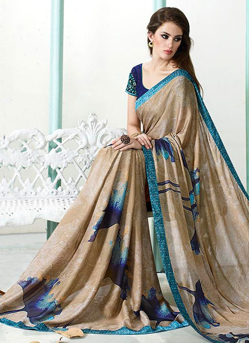 Titillating Digital Print Work Faux Georgette Casual Saree