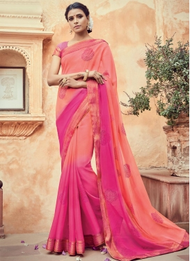 Titillating Faux Chiffon Rose Pink and Salmon Trendy Classic Saree