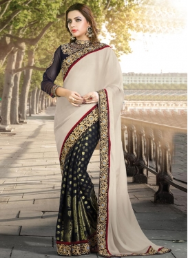 Titillating  Faux Georgette Beads Work Half N Half Designer Saree