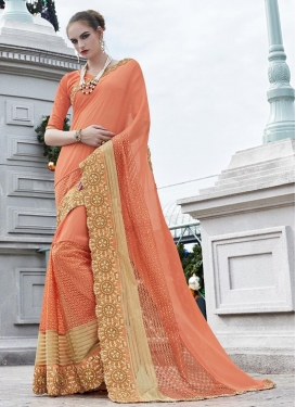 Titillating  Faux Georgette Designer Contemporary Style Saree For Festival