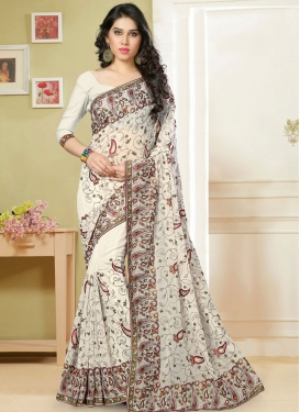 Titillating Faux Georgette Resham Work Designer Saree