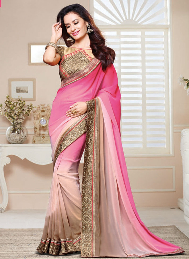 Titillating Faux Georgette Resham Work Party Wear Saree