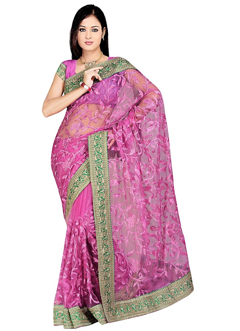 Titillating Hot Pink Net Saree
