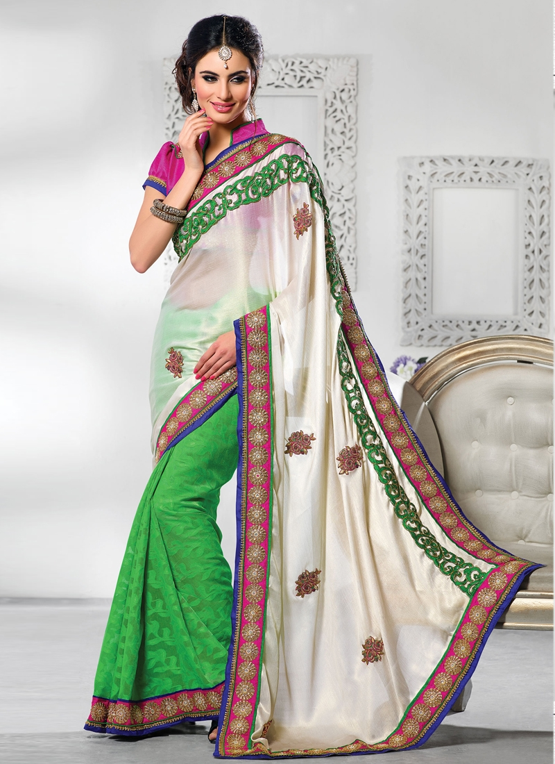 Titillating Off White And Green Color Half N Half Saree
