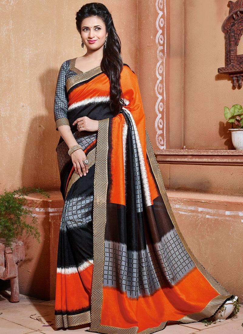 Titillating Orange And Black Color Divyanka Tripathi Casual Saree