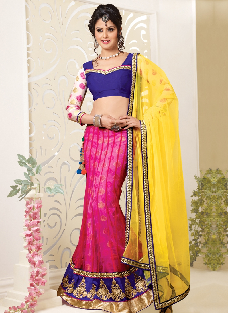 Titillating Rose Pink Color Net Party Wear Lehenga Choli