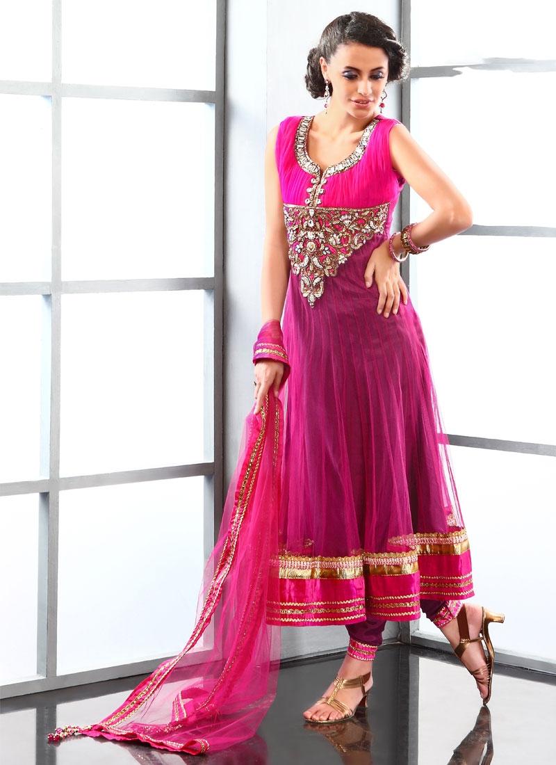 Titillating Rose Pink Net Readymade Salwar Kameez