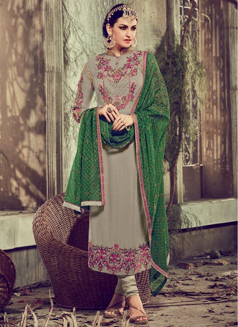 Titillating Stone And Resham Work Pakistani Salwar Suit