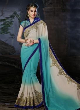 Titillating Velvet And Resham Work Wedding Saree