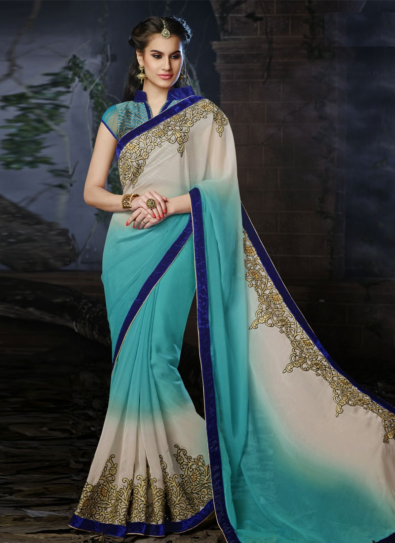 Titillating Velvet And Resham Work Wedding Saree