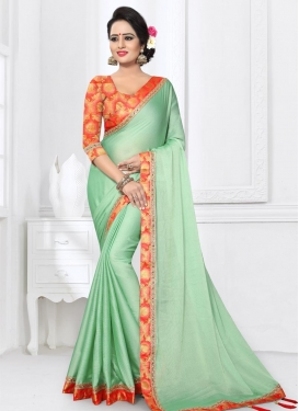 Tomato and Turquoise Chiffon Satin Trendy Saree