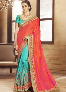 Tomato and Turquoise Jacquard Silk Designer Half N Half Saree