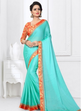 Tomato and Turquoise Lace Work Contemporary Saree