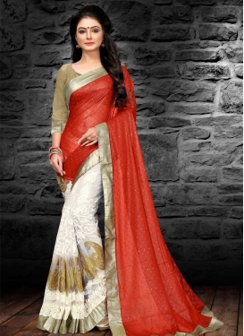 Tomato and White Georgette Half N Half Trendy Saree For Ceremonial