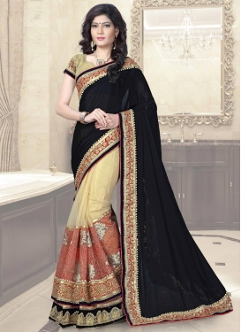 Topnotch Beads Work Black and Coral  Half N Half Designer Saree