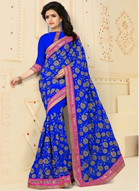 Topnotch Blue Embroidered Work Trendy Saree